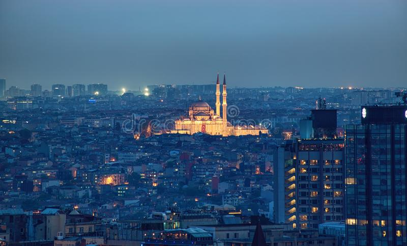 Luftpanoramablick Fatih Mosques stockbild