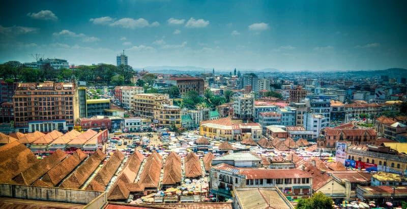 Luftpanoramablick nach Antananarivo, Hauptstadt von Madagaskar stockbilder