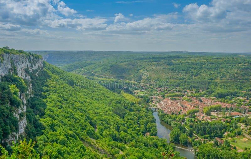 Luftpanoramablick von Sant Antonin de Noble Val lizenzfreie stockbilder