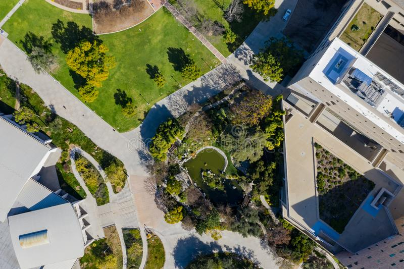 Luftplan des japanischen Gartens in Cal Poly Pomona-Campus lizenzfreie stockbilder