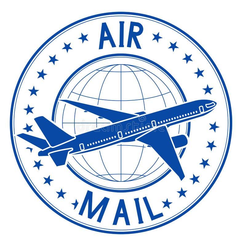 Luftpost-Blauemblem Posttintenstempel stock abbildung