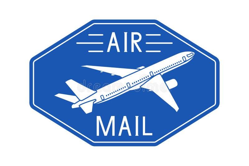 Luftpostblauer Postaufkleber oder -emblem stock abbildung