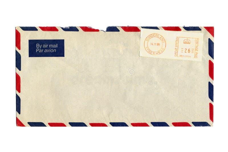 Luftpostbrief und Poststempel stockfoto