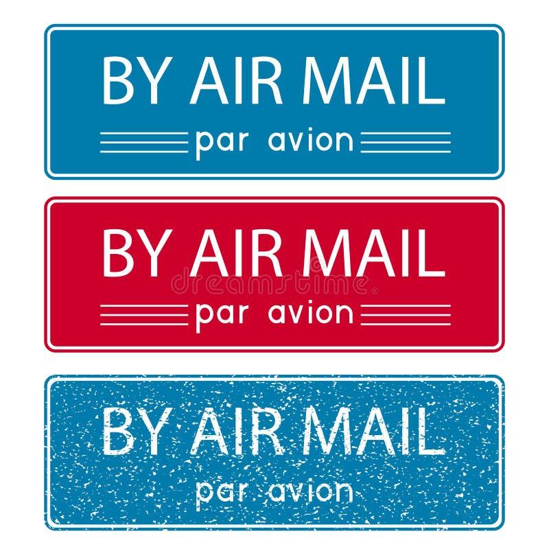 Luftpostpoststempel Blaues und rotes Postelement lizenzfreie abbildung