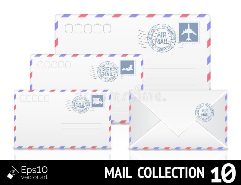 Luftpostumschlag mit dem Poststempel an lokalisiert stock abbildung