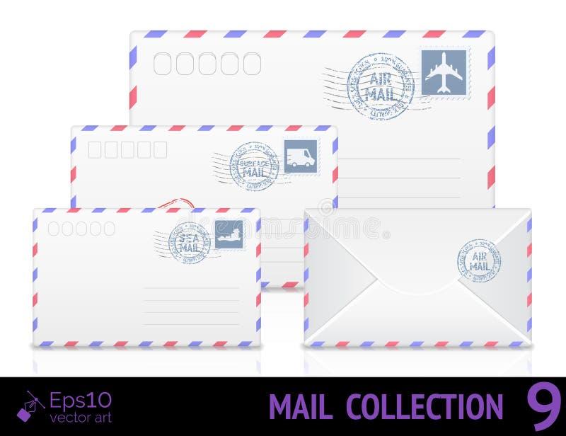 Luftpostumschlag mit dem Poststempel an lokalisiert lizenzfreie abbildung