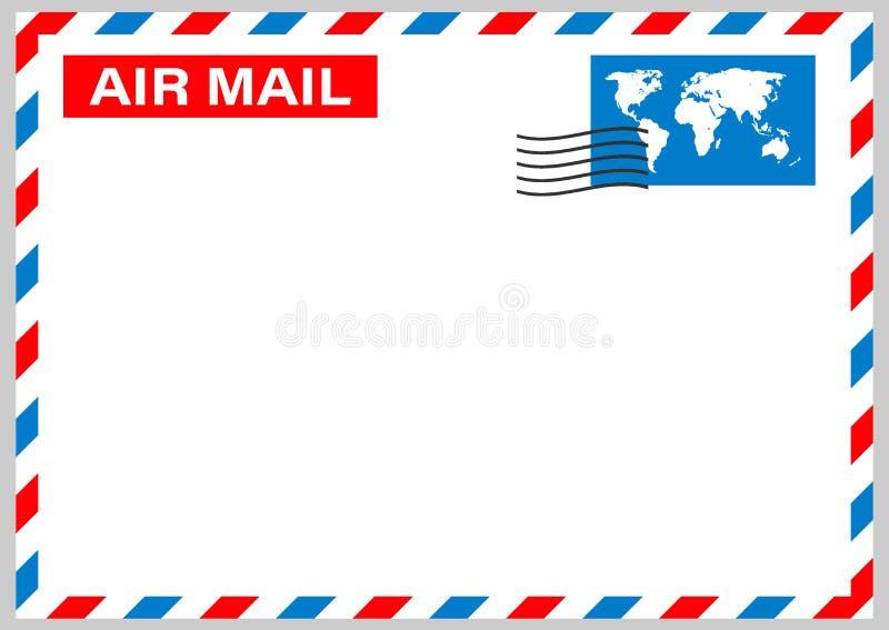 Luftpostumschlag mit dem Poststempel lokalisiert auf wei?em Hintergrund Vektorauf lagerabbildung stock abbildung