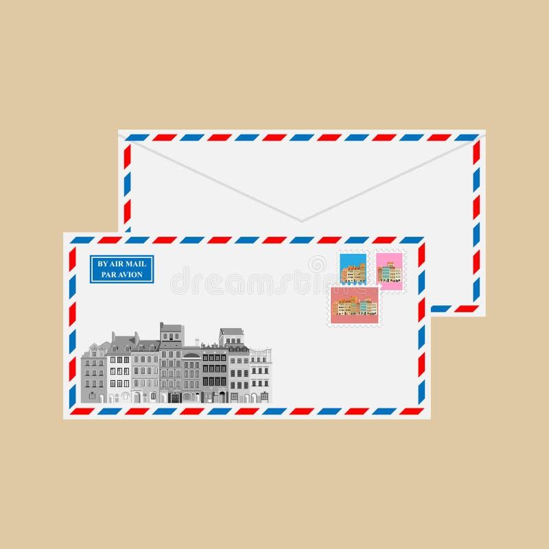 Luftpostumschlag mit Poststempeln stock abbildung