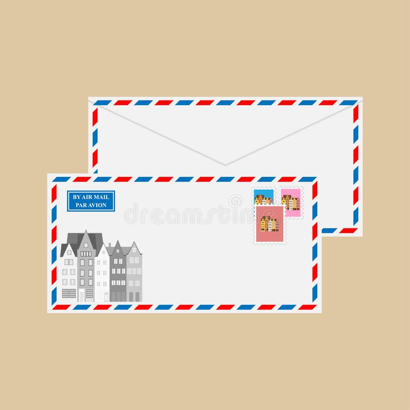 Luftpostumschlag mit Stempeln und Poststempeln lizenzfreie abbildung