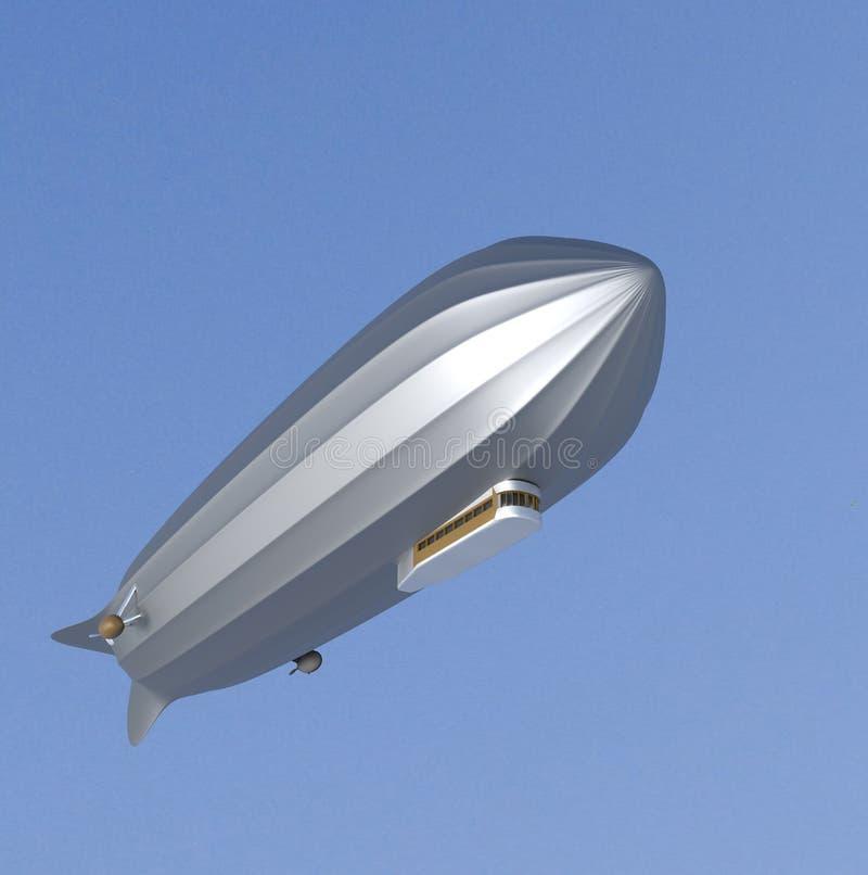Luftschiff auf Weiß, lenkbares, Flugzeug, Zeppelin, 3d übertragen vektor abbildung
