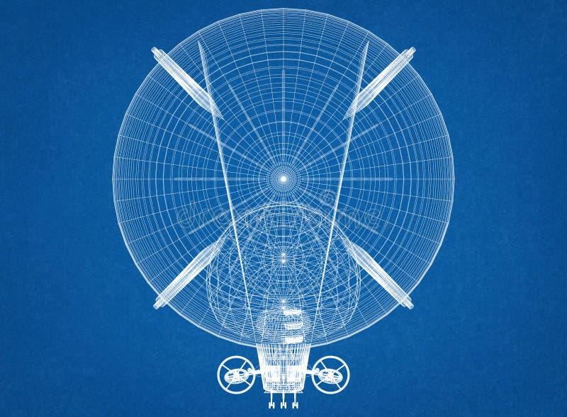 Luftschiff-Design-Architekt Blueprint stock abbildung