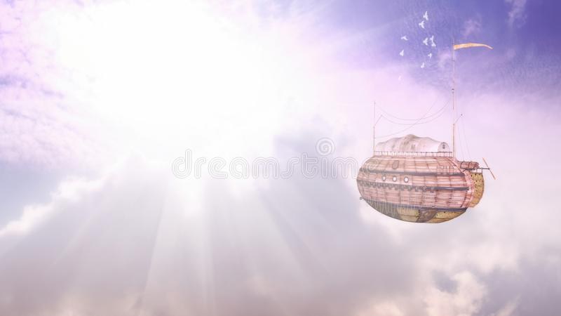 Luftschiff-Flug-Fantasie-Illustration stockbild