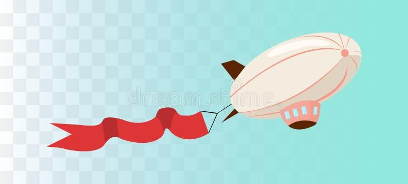 Luftschiff mit Bandfahne lizenzfreie abbildung