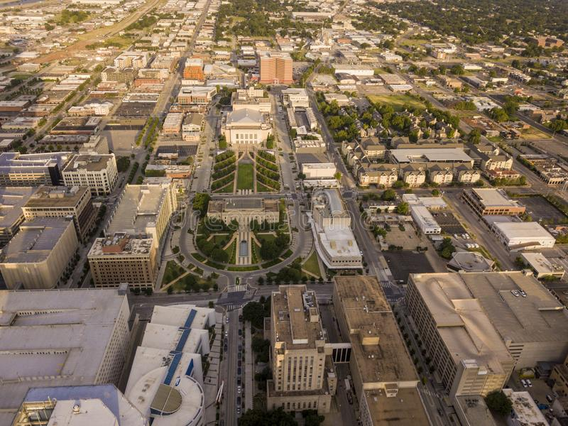 Luftschuß des Stadtzentrums von Oklahoma City, Oklahoma lizenzfreie stockfotos