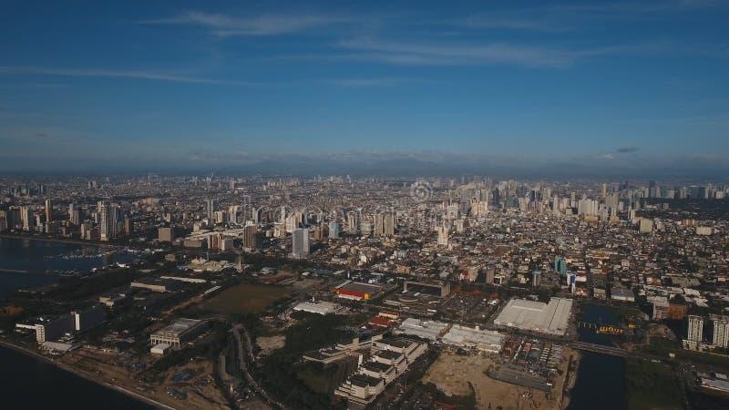 Luftstadt mit Wolkenkratzern und Gebäuden Philippinen, Manila, Makati stockbilder