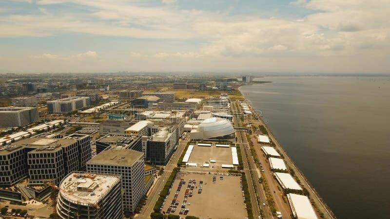Luftstadt mit Wolkenkratzern und Gebäuden Philippinen, Manila, Makati lizenzfreies stockbild