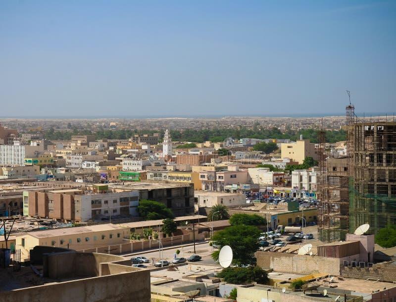 Luftstadtbildansicht nach Nouakchott, Hauptstadt von Mauretanien stockbild