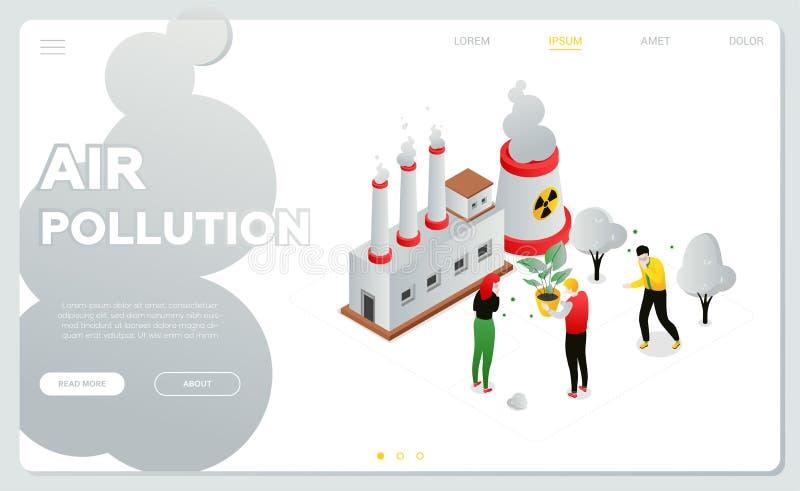 Luftverschmutzung - moderne bunte isometrische Vektornetzfahne lizenzfreie abbildung