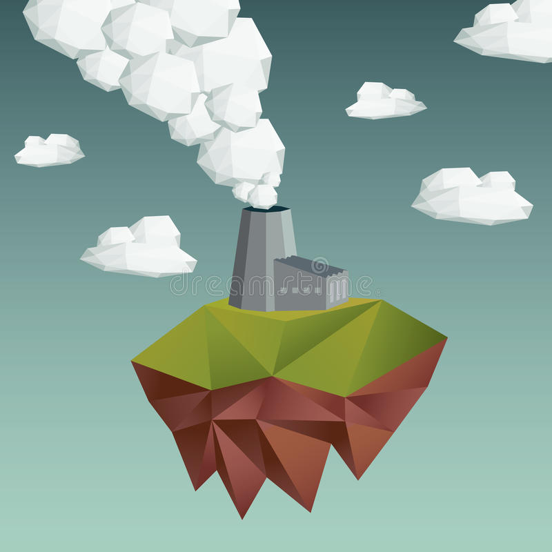 Luftverschmutzungskonzept mit Fabrikgebäude stock abbildung