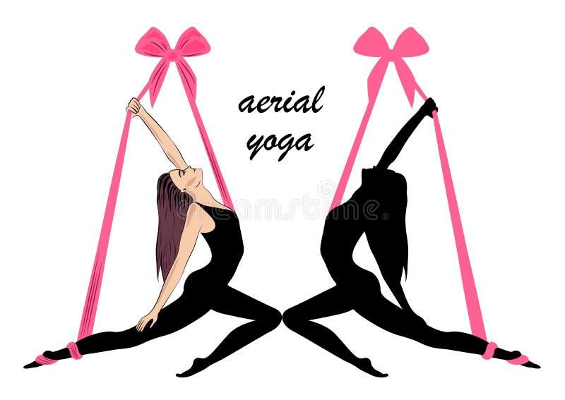 Luftyoga Yogalogoschablonen-Entwurfsidee stockfoto