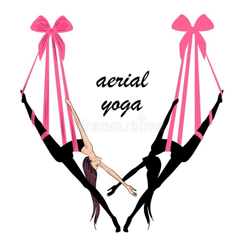 Luftyoga Yogalogoschablonen-Entwurfsidee stockfotos
