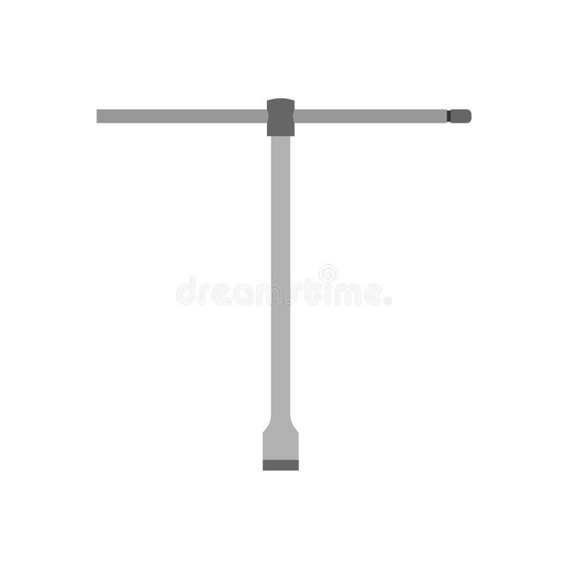 Lug steel wrench vehicle maintenance workshop illustration. Car silver brace symbol vector icon. Mechanical tool garage royalty free illustration