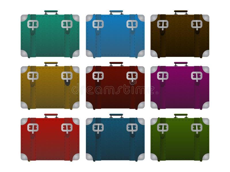 lugages设置了手提箱 皇族释放例证