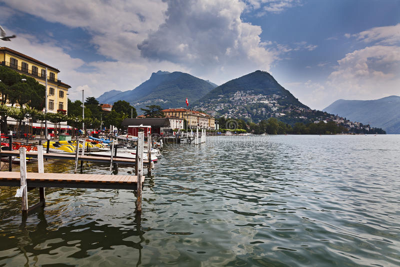 Lugano奎伊湖天 库存照片