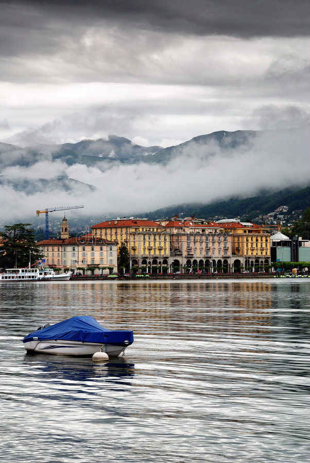 Lugano city. A picturesque view of the Lugano city along the river stock photo