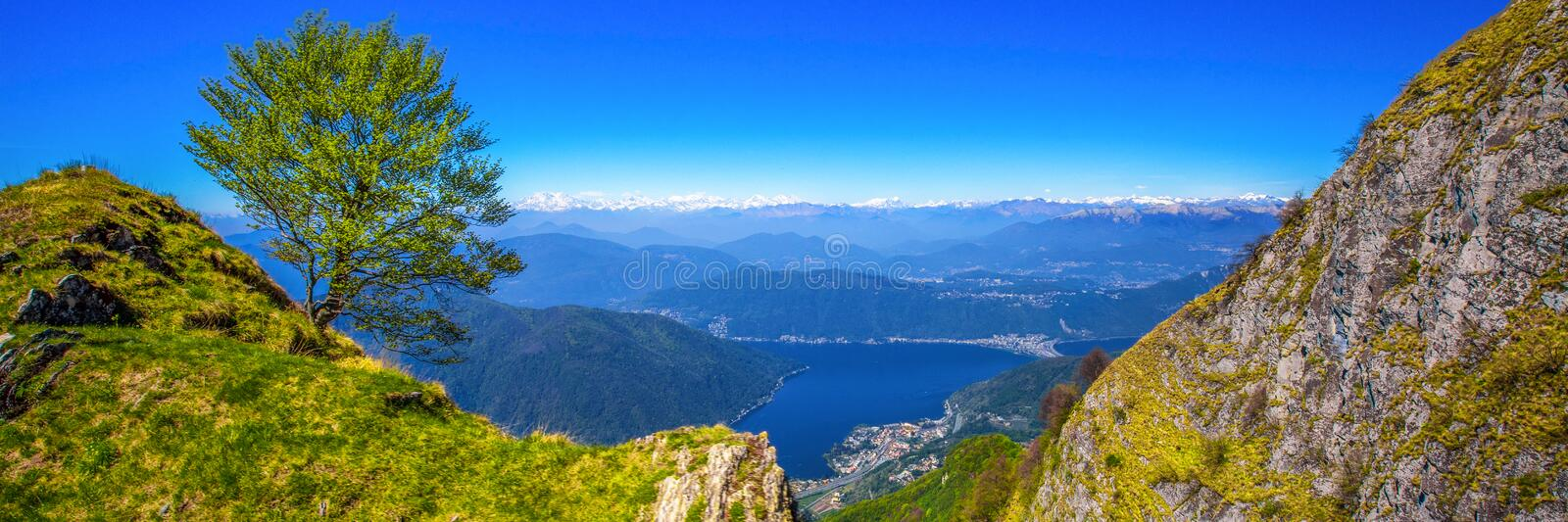 Lugano city, San Salvatore mountain and Lugano lake from Monte Generoso, Canton Ticino, Switzerland royalty free stock photos