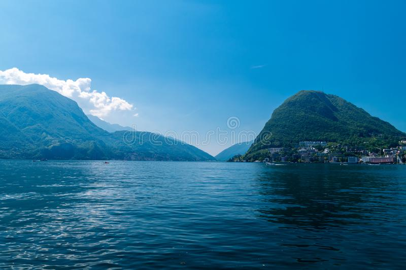 Lugano Lake and mountains. Lake Lugano Lago di Lugano stock images