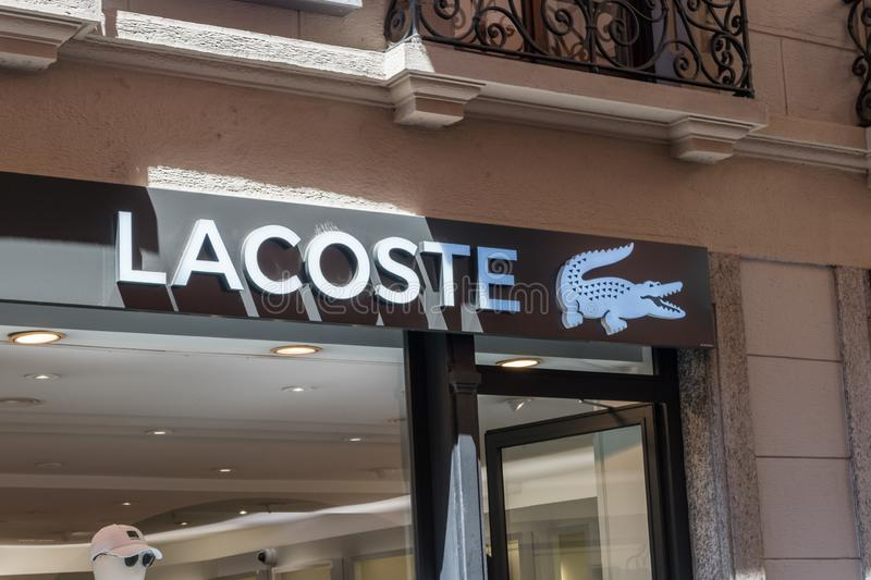 Logo and sign of Lacoste. Lacoste is a French company, founded in 1933 by tennis player Rene Lacoste and Andre Gillier stock images