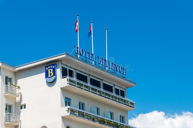 Sign on the roof of Hotel Bellevue. royalty free stock image