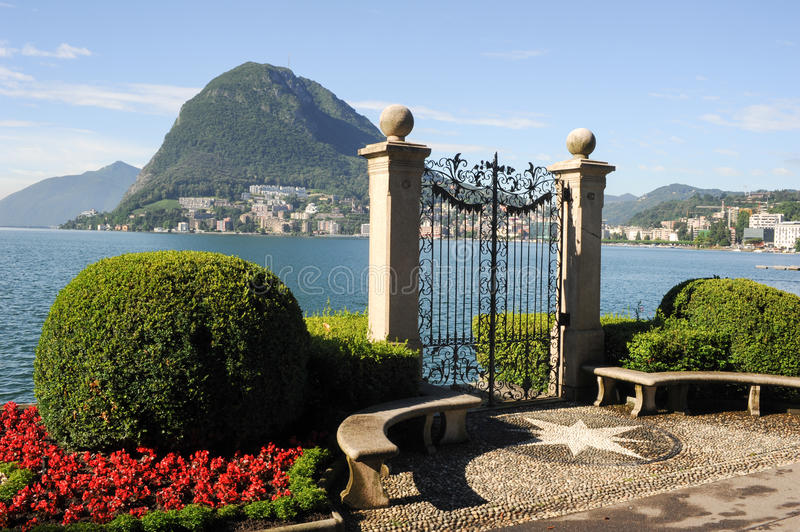 Lugano, Switzerland - View of the gulf from the botanical garden. Of the city royalty free stock photos
