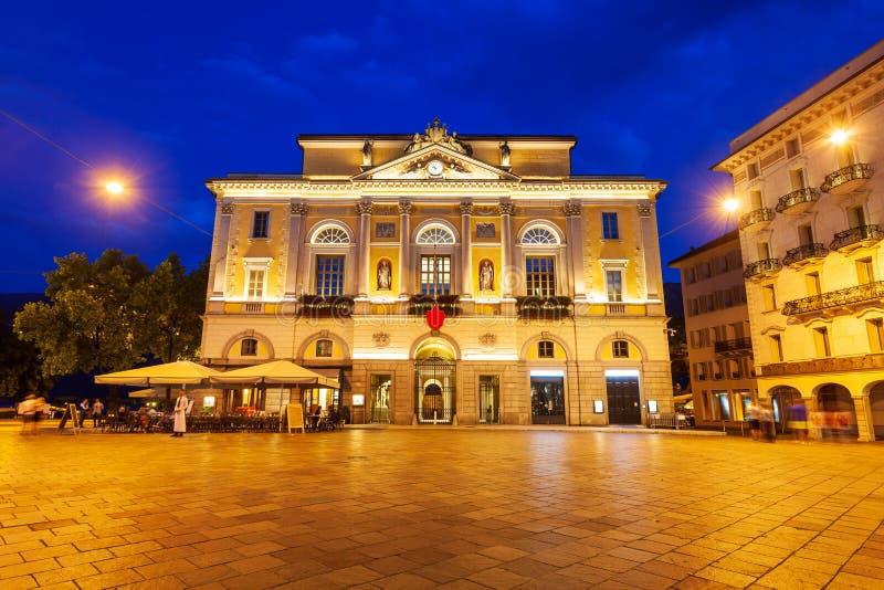 Lugano Town Hall i Schweiz royaltyfria bilder