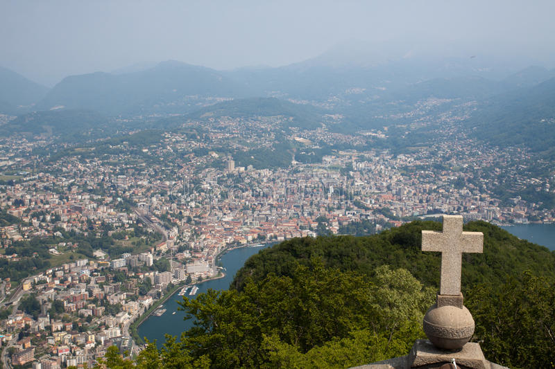 Download Lugano View From San Salvatore Stock Image - Image of salvatore, mountain: 21073403