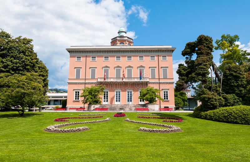 View of Villa Ciani with colorful tulips foreground in the public city park of Lugano. stock photos