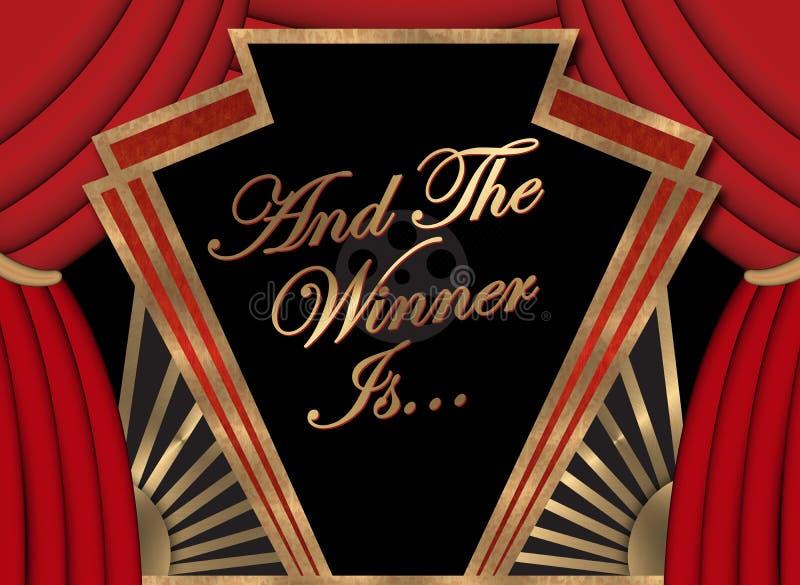Lugar Art Logo Sign del premio de la Academia de la película de la bandera del ganador primer foto de archivo