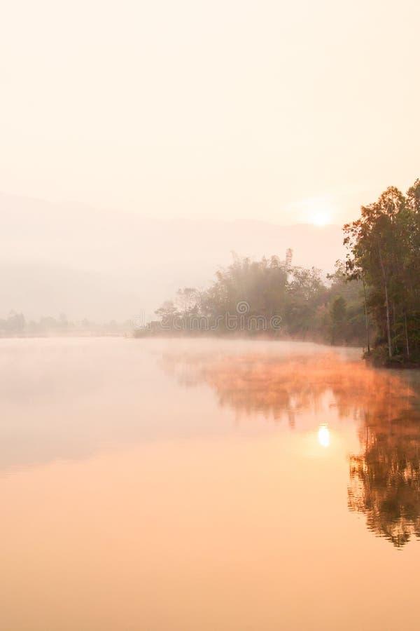 Lugar calmo, lago na névoa, paisagem mágica Pa Khong de Dien Bien District, Vietname A floresta cobre em torno do lago e fotos de stock royalty free