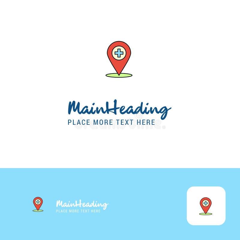 Lugar criativo Logo Design do hospital Lugar liso do logotipo da cor para o Tagline Ilustração do vetor ilustração royalty free
