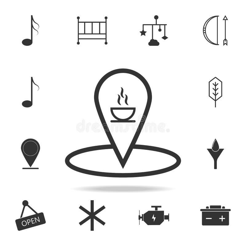 Lugar da cafetaria com linha ícone do copo de café Grupo detalhado de ícones e de sinais da Web Projeto gráfico superior Uma da c ilustração stock