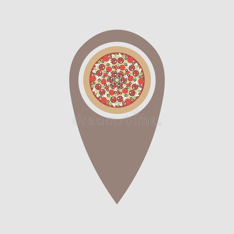 Lugar da pizza símbolo da pizza que aponta em um mapa r ilustração royalty free