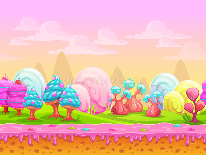 Lugar da terra dos doces da fantasia dos desenhos animados imagens de stock royalty free