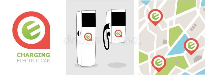 Lugar de carregar a estação de Eco para o carro elétrico ilustração stock