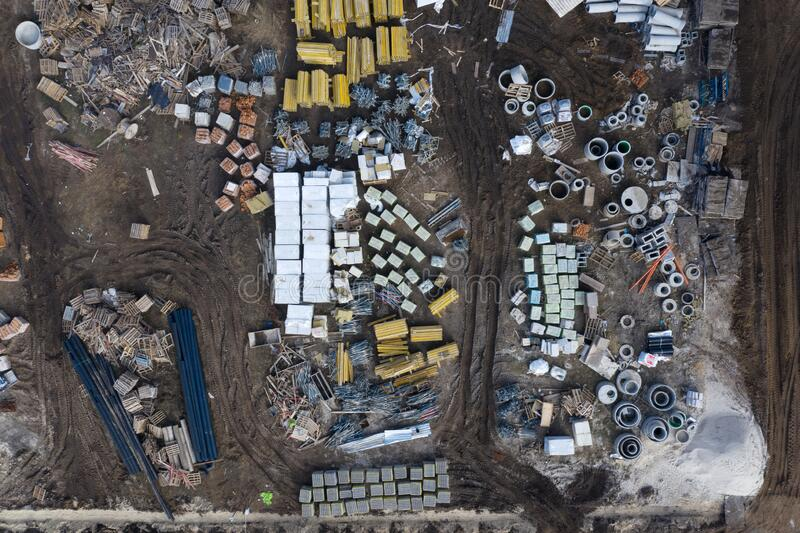 Lugar de construcción, equipo y materiales, vista superior fotos de archivo libres de regalías