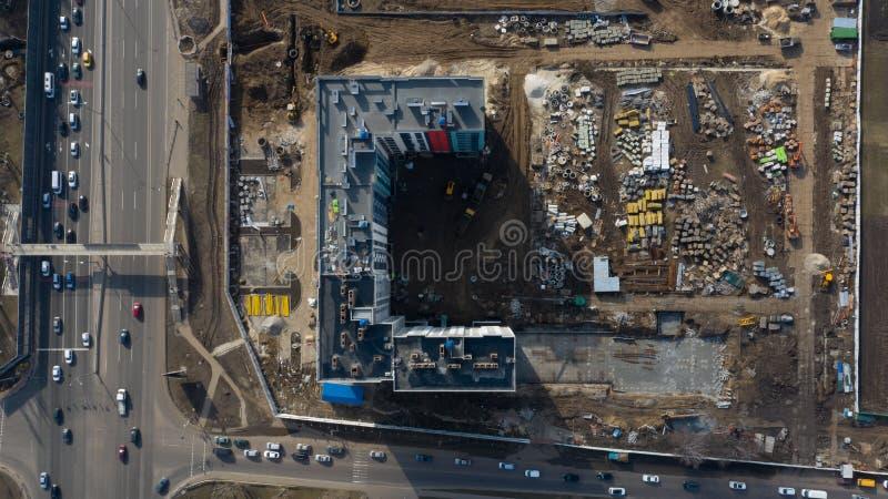 Lugar de construcción, equipo y materiales, vista superior imagenes de archivo