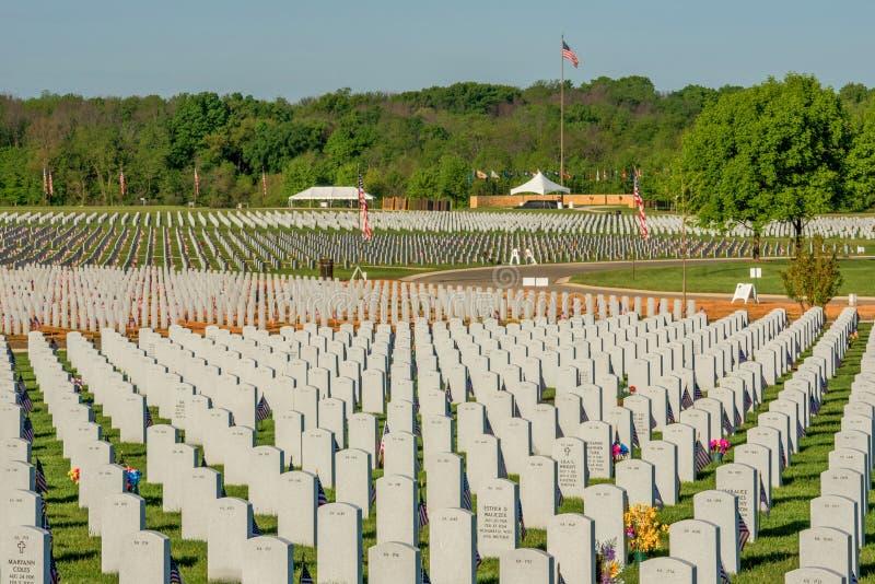Lugar de descanso de Abraham Lincoln Cemetary de nossos heróis caídos fotos de stock