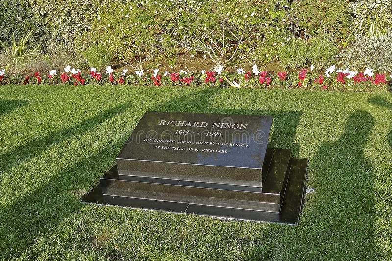 Lugar de enterramiento de presidente Nixon en California imágenes de archivo libres de regalías