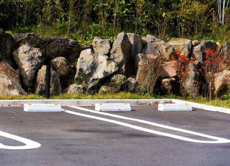 Lugar de estacionamento, Hanoke, Japão Copie o espaço para o texto imagens de stock royalty free