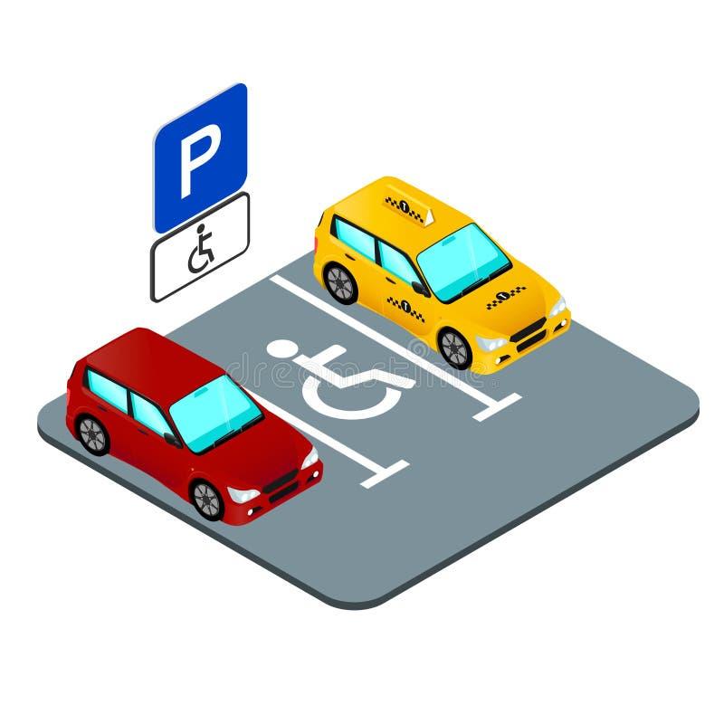 Lugar de estacionamento para o inválido, a marcação e o sinal de estrada ilustração stock